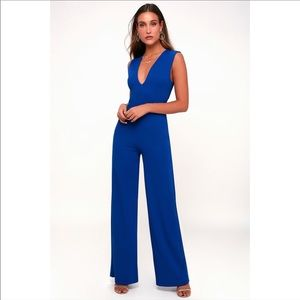 Lulu's Thinking Out Loud Royal Blue Jumpsuit
